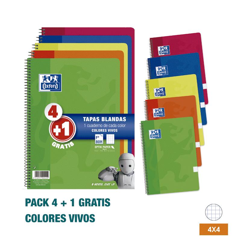 Pack 4 1 cuaderno f tapa blanda 80 hojas 4x4 c m for Gama de colores vivos