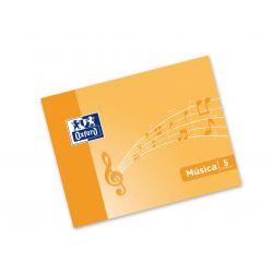 OXFORD SCHOOL MUSICA A5 apaisado Tapa blanda libreta grapada 5 pentagramas interLíneado de 4 mm 10 Hojas tapa naranja con ilustración