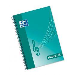 OXFORD SCHOOL MUSICA Fº Tapa blanda cuaderno espiral 15 pentagramas interLíneado de 2 mm 20 Hojas tapa con ilustración