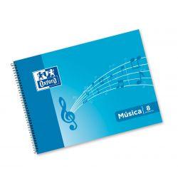 OXFORD SCHOOL MUSICA 4º apaisado Tapa blanda cuaderno espiral 8 pentagramas interLíneado de 2 mm 20 Hojas tapa con ilustración