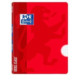 OXFORD SCHOOL CLASSIC OPENFLEX A4 Tapa de plástico libreta grapada 5x5 con margen 48 Hojas ROJO