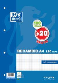 OXFORD SCHOOL CLASSIC A4 Recambio paquete 4x4 con margen 100 Hojas + 20 Hojas gratis