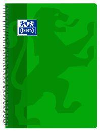 OXFORD SCHOOL CLASSIC Fº Tapa de plástico cuaderno espiral 4x4 con margen 80 Hojas VERDE