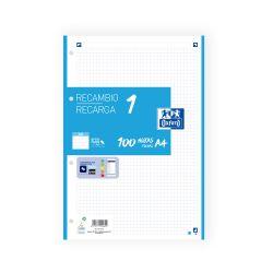 OXFORD SCHOOL A4 Recambio Paquete con 1 color de banda 5x5 100 Hojas TURQUESA SCRIBZEE