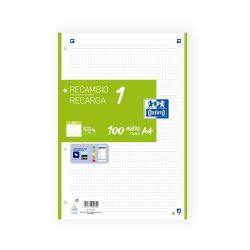 OXFORD SCHOOL A4 Recambio Paquete con 1 color de banda 5x5 100 Hojas VERDE SCRIBZEE