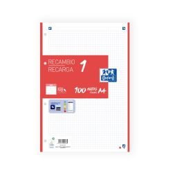 OXFORD SCHOOL A4 Recambio Paquete con 1 color de banda 5x5 100 Hojas ROJO SCRIBZEE