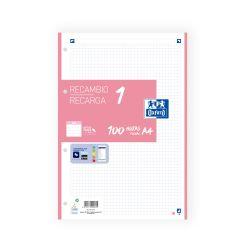 OXFORD SCHOOL A4 Recambio Paquete con 1 color de banda 5x5 100 Hojas ROSA CHICLE SCRIBZEE
