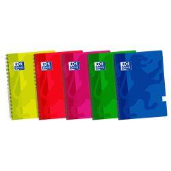 OXFORD SCHOOL CLASSIC 4º Tapa de plástico cuaderno espiral Pauta 3,5 con margen 80 Hojas COLORES VIVOS