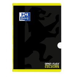 OXFORD SCHOOL OPENFLEX COLOURS A4 Tapa de plástico libreta grapada 1 Línea con 2 márgenes 48 Hojas negro con bandas de color horizontales LIMA