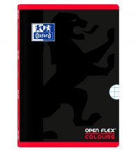 OXFORD SCHOOL OPENFLEX COLOURS A4 Tapa de plástico libreta grapada 5x5 con 2 márgenes 48 Hojas negro con bandas de color horizontales ROJO
