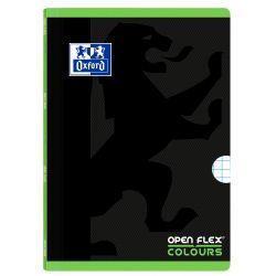 OXFORD SCHOOL OPENFLEX COLOURS A4 Tapa de plástico libreta grapada 5x5 con 2 márgenes 48 Hojas negro con bandas de color horizontales VERDE