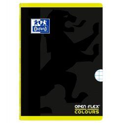 OXFORD SCHOOL OPENFLEX COLOURS A4 Tapa de plástico libreta grapada 5x5 con 2 márgenes 48 Hojas negro con bandas de color horizontales LIMA