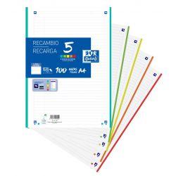 OXFORD SCHOOL A4 Recambio Paquete con 5 colores de banda 1 Linea 100 Hojas SCRIBZEE