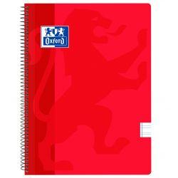 OXFORD SCHOOL CLASSIC Fº Tapa de plástico cuaderno espiral Pauta 3,5 con margen 80 Hojas ROJO