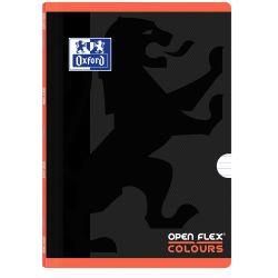 OXFORD SCHOOL OPENFLEX COLOURS A4 Tapa de plástico libreta grapada 1 Línea con 2 márgenes 48 Hojas negro con bandas de color horizontales CORAL
