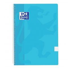 OXFORD SCHOOL CLASSIC Fº Tapa de plástico Cuaderno Espiral 4x4 con margen 80 Hojas AZUL PASTEL