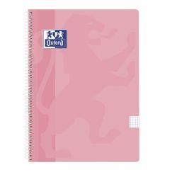 OXFORD SCHOOL CLASSIC Fº Tapa de plástico Cuaderno Espiral 4x4 con margen 80 Hojas ROSA FLAMINGO