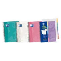 OXFORD SCHOOL CLASSIC A5+ Tapa Extradura Euroopeanbook 5 5x5 100 Hojas con 5 pestañas troqueladas - Surtido