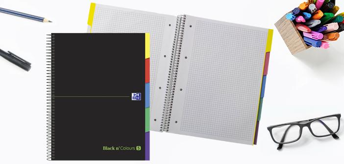 Black n' Colours Europeanbook 5 con pestañas, la forma más fácil de organizar hasta 5 asignaturas diferentes en un mismo cuaderno